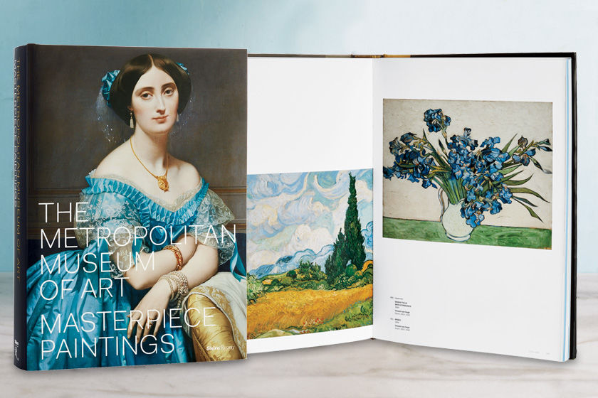"Book cover and selected pages from ""The Metropolitan Museum of Art: Masterpiece Paintings"""